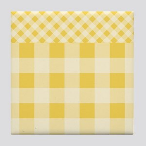 Lemon Zest Gingham pattern Tile Coaster