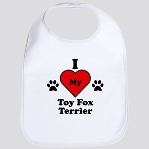 I Heart My Toy Fox Terrier Bib