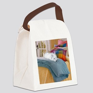 Westie Napping Canvas Lunch Bag