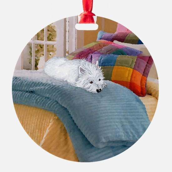 Westie Napping Ornament