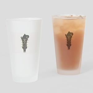 Plaid Mandolin Headstock Drinking Glass
