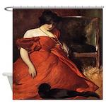 Vintage Woman Red Dress Black Cat Shower Curtain