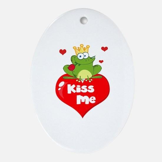 cute kiss me frog prince on heart cartoon Ornament