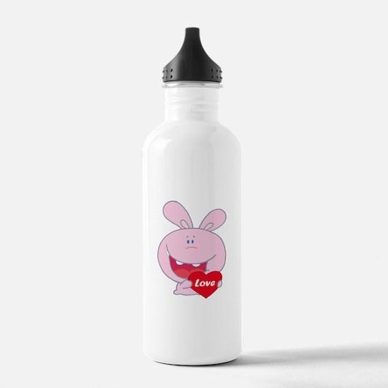 cute little love bunny cartoon character Water Bottle