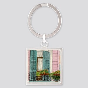 New Orleans Door Square Keychain