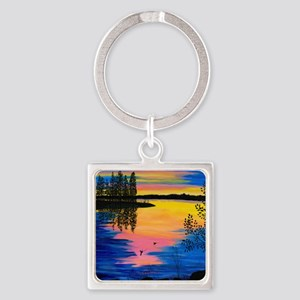 Dawn on the Lake Square Keychain