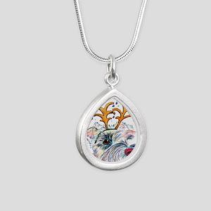 Holiday Schnauzer Silver Teardrop Necklace