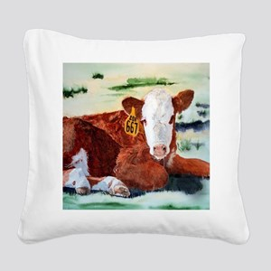 Hereford Calf Square Canvas Pillow