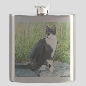 Louie the Tuxedo Cat Flask