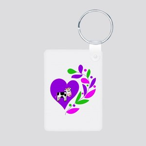 Cow Heart Aluminum Photo Keychain