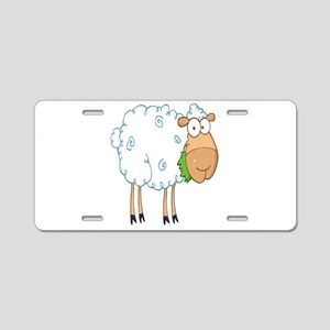 funky cartoon white sheep chewing grass Aluminum L
