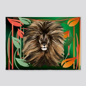 Big Cat and Colorful Jungle 5'x7'Area Rug