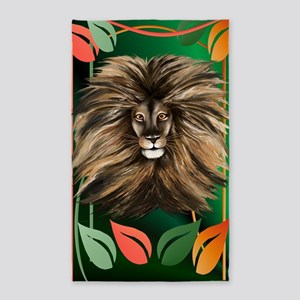 Big Cat and Colorful Jungle 3'x5' Area Rug
