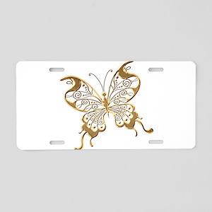 Golden Butterfly Aluminum License Plate