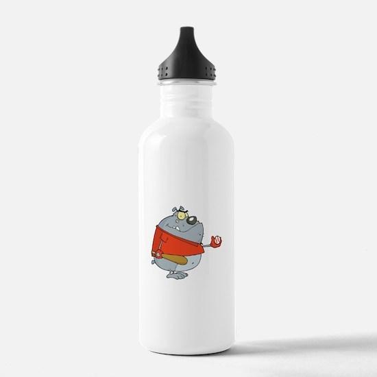 funny baseball bulldog cartoon character Water Bottle