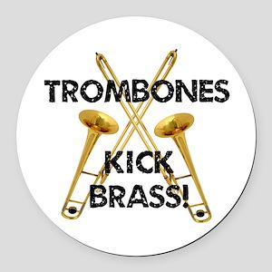 Trombones Kick Brass Round Car Magnet