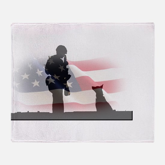Soldier and shepard Throw Blanket
