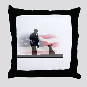 Soldier and shepard Throw Pillow