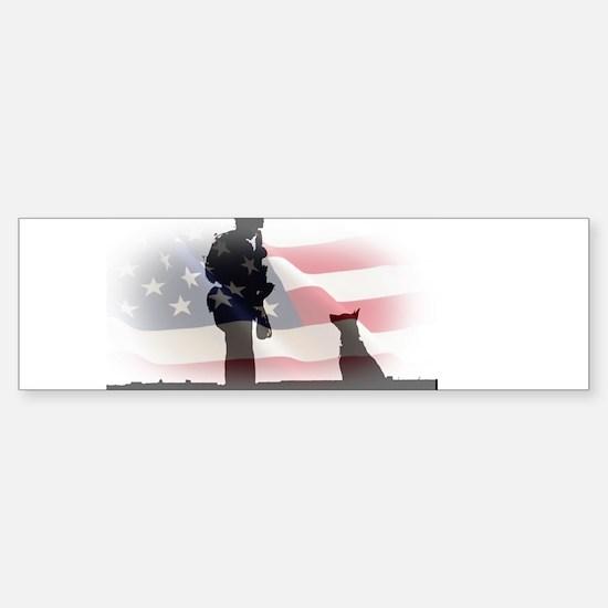 Soldier and shepard Bumper Bumper Bumper Sticker