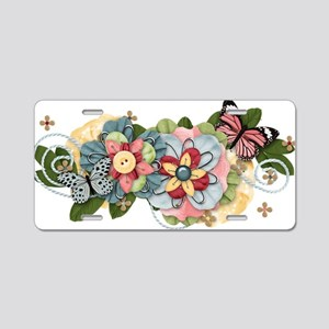 Social Butterfly Aluminum License Plate