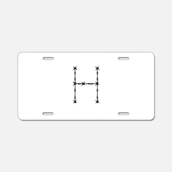 Barbed Wire Monogram H Aluminum License Plate