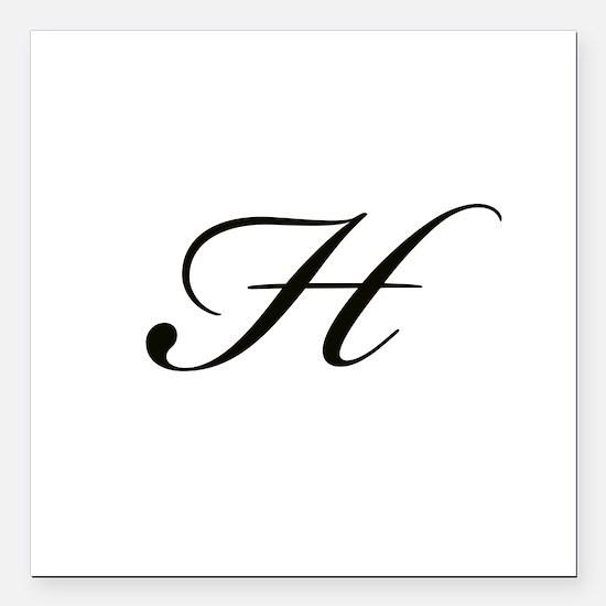 """Bickham Script Monogram H Square Car Magnet 3"""" x 3"""