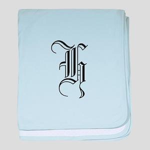 Blackletter Monogram H baby blanket