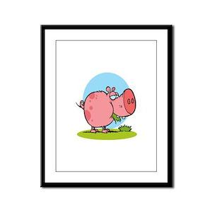 funny cute piggy pig eating grass cartoon Framed P