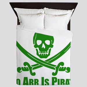 To Arr Is Pirate Green Queen Duvet
