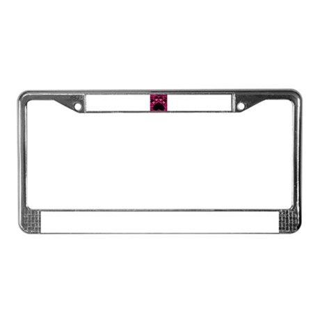 Paw Print on Hot Pink Zebra License Plate Frame