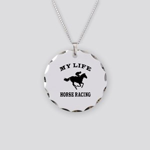 My Life Horse Racing Necklace Circle Charm