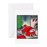 Santas tramp stamp Greeting Cards (Pk of 10)