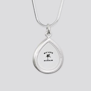 My Life Hurdles Silver Teardrop Necklace