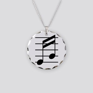16th note 3 Necklace Circle Charm