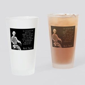 In Religion And Politics - Twain Drinking Glass