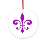 Fleur De Lis Purple Ornament (Round)
