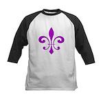 Fleur De Lis Purple Kids Baseball Jersey