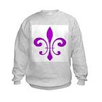 Fleur De Lis Purple Kids Sweatshirt