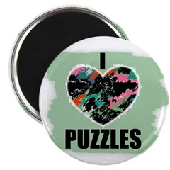 I LOVE PUZZLES HEART SHAPE LOOK Magnet