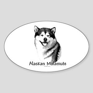 Malamute Charcoal Oval Sticker