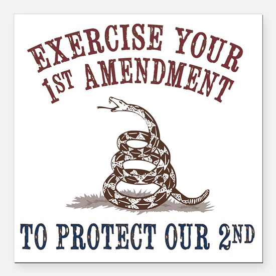 """Protect Our 2nd Square Car Magnet 3"""" x 3&quot"""
