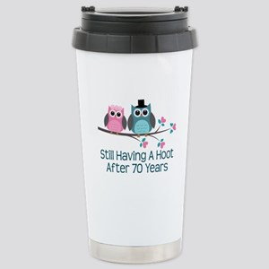 70th Anniversary Owls Stainless Steel Travel Mug