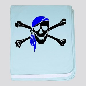 Skull And Bones Blue Bandana baby blanket