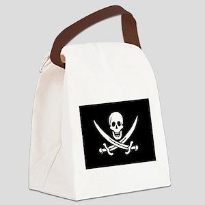 Black Calico Jack Flag Canvas Lunch Bag