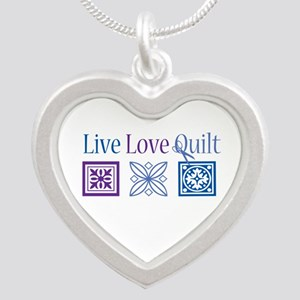 Live Love Quilt Silver Heart Necklace