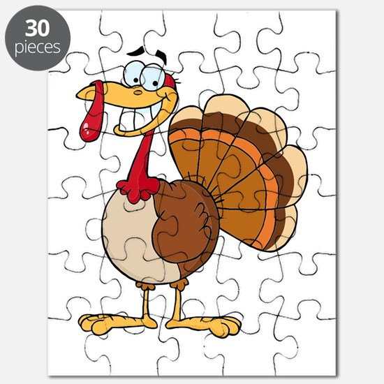 funny grinning happy turkey cartoon Puzzle