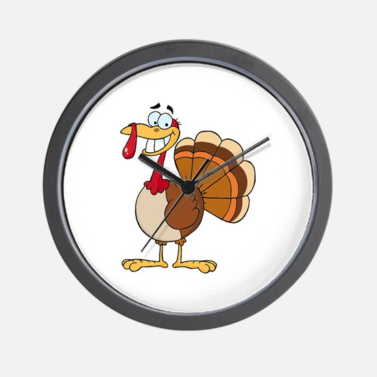 funny grinning happy turkey cartoon Wall Clock