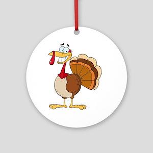 funny grinning happy turkey cartoon Ornament (Roun