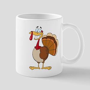 funny grinning happy turkey cartoon Mug