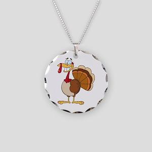 funny grinning happy turkey cartoon Necklace Circl